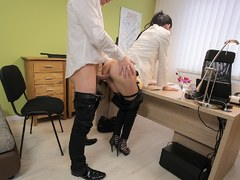 LOAN4K. Colleague drills mouth and sissy of new very nice coworker