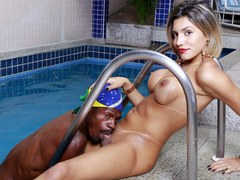 Tgirl Dani Peterson and a Black Guy Take Turns Pleasuring Each Other