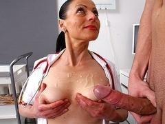 Cfnm handjob from sexy uniform cougar Renate
