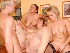 Mature ladies sharing a young guy