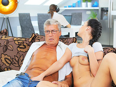 DADDY4K. Middle-aged man has fun with sons unsatisfied girlfriend