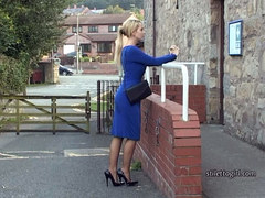 Sexy blonde Stiletto Girl Larissa stimulates your shoe fetish tottering in high heels